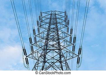 電気, 背景, パイロン, 青, 高く, 空, 伝達, 電圧