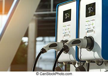 電気 車, 充満, station., プラグ, ∥ために∥, 車, ∥で∥, 電気である, motor., コインによって作動する, 充満, station., クリーンエネルギー, power., コマーシャル, 充満, station., 充満, point., 下部組織, policy.