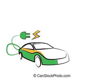 電気 車, 現代, イラスト, silhouette., ベクトル