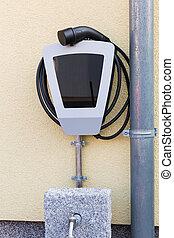 電気 車, charging., 力, 家, 充満, 供給, station.
