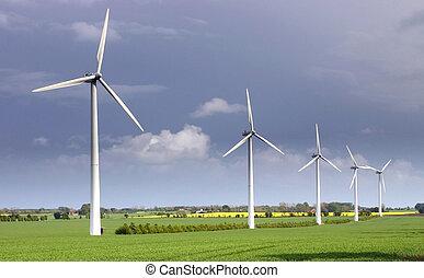 電気, 風タービン, エネルギー, 回復可能
