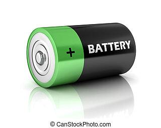 電池, アイコン, 3d
