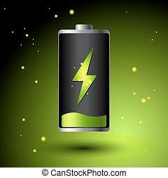 電池, エネルギー, -, 充満, eco, 緑, 選択肢, concept.