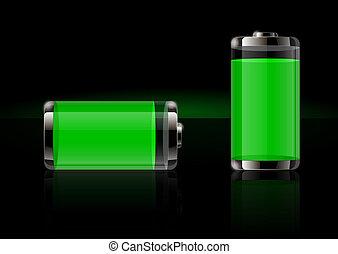 電池, グロッシー, 透明, アイコン