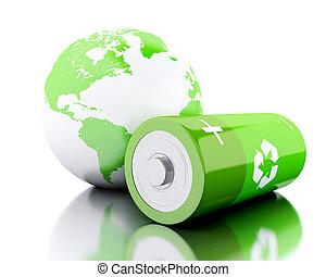 電池, シンボル, リサイクル, 緑地球, 地球, 3d