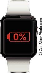 電池, スクリーン, 腕時計, 印, 低い, 痛みなさい