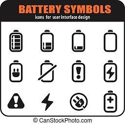 電池, セット, アイコン