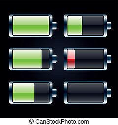 電池, セット, グロッシー, アイコン