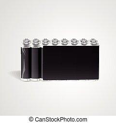 電池, セット, ブランク