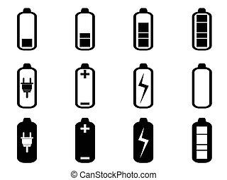 電池, セット, 黒, アイコン