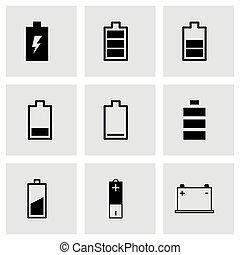 電池, セット, 黒, ベクトル, アイコン