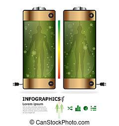 電池, デザイン, 人間, テンプレート, infographics