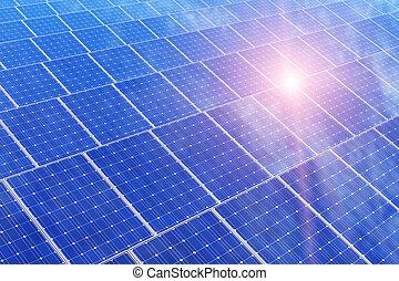 電池, パネル, 電気である, 太陽