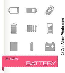 電池, ベクトル, セット, アイコン