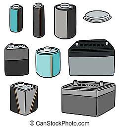 電池, ベクトル, セット