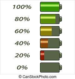 電池, レベル, 力