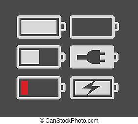 電池, 充満, セット, レベル