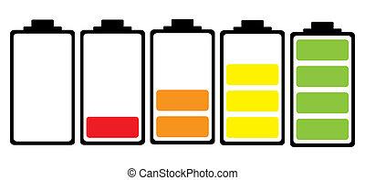 電池, 充満, 色, アイコン