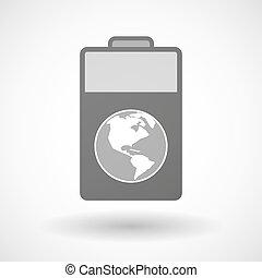 電池, 地域, 隔離された, 世界, アメリカ, 地球, アイコン