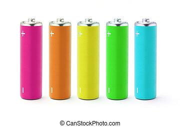 電池, 多色刷り, 大きさ, aa