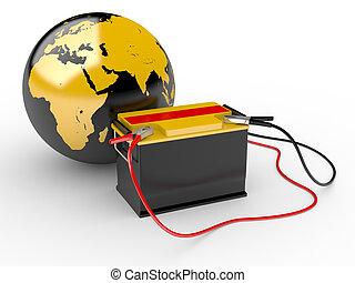 電池, 大きい, 抽象的, イラスト, 地球の 地球, 3d