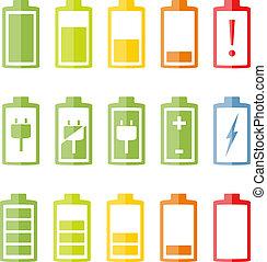 電池, 平ら, セット, アイコン