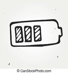電池, 畫, 矢量, 插圖, 手