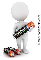 電池, 白, 3d, 人々