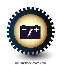 電池, 自動車, ステッカー