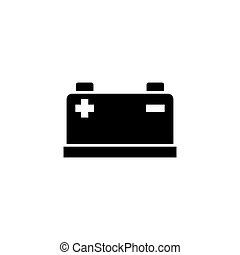 電池, 自動車, ベクトル, 平ら, アイコン