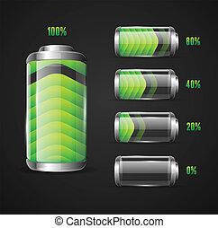 電池, 表示器, ベクトル, イラスト, レベル