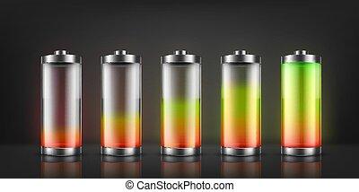 電池, 表示器, 充満, セット, ベクトル
