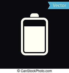 電池, 隔離された, イラスト, バックグラウンド。, ベクトル, 黒, 白, アイコン
