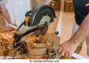 電火花, 工人, 金屬, 碾, 當時, 鋸, 鐵, 人
