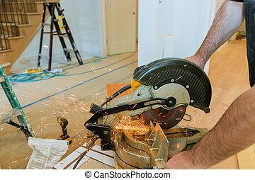 電火花, 工人, 金屬, 碾, grinder., 當時, 切, 鐵