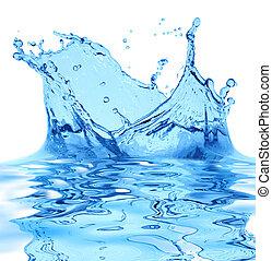 電火花, ......的, 藍色的水, 上, a, 白色 背景, ...