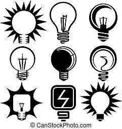 電球, アイコン, セット, サイン