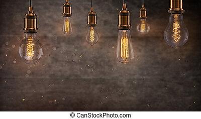 電球, エジソン, ライト, 暗い, バックグラウンド。, 型