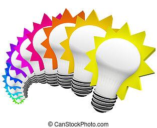 電球, カラフルである, 考え, ライト, 考え, 革新的