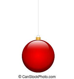 電球, クリスマス, 赤, 隔離された