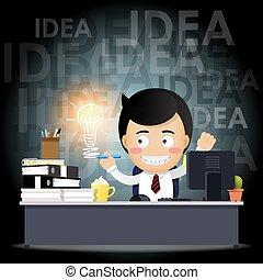 電球, コンピュータ, 考え, 仕事, ビジネスマン