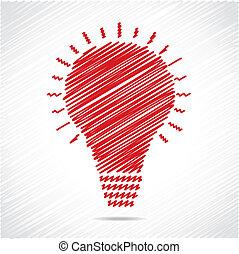 電球, スケッチ, デザイン, 赤