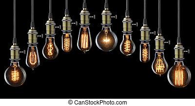電球, セット, ライト, 白熱, 黒, 型
