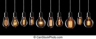 電球, セット, 型, 白熱, 黒い背景, ライト