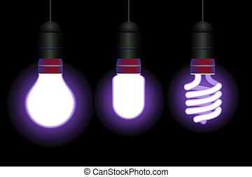 電球, セービング, ライト, エネルギー, -, ベクトル, editable, 蛍光