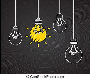 電球, デザイン, 考え