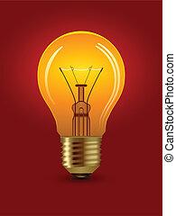 電球, ベクトル, 照ること