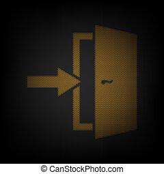 電球, ライト, アイコン, オレンジ, ドア, 印。, 小さい, 格子, illustration., darkness., 出口