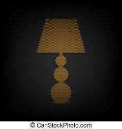 電球, ライト, アイコン, オレンジ, 印, 小さい, 格子, illustration., ランプ, darkness.