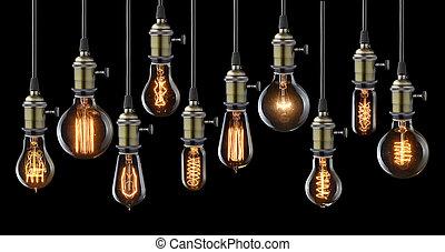 電球, ライト, コレクション, 白熱, 黒, 型